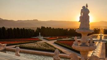 Sunset on the Italian Renaissance garden in Jardines de Mexico.