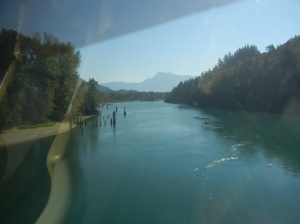 A view of the Fraser River through the window of the dome car.