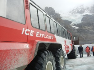 A million-dollar special vehicle takes passengers up to the glacier.