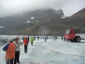 An overcast day and a chilly wind for a walk on the glacier.
