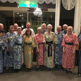 The OAT group at the hotel in Hakone. Photo courtesy of Akane Shinohara.
