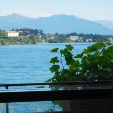 The restaurant has a beautiful view of Lake Maggiore.