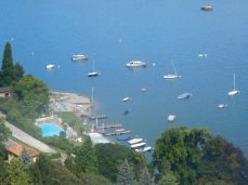 Lots of boat traffic on Lake Maggiore.