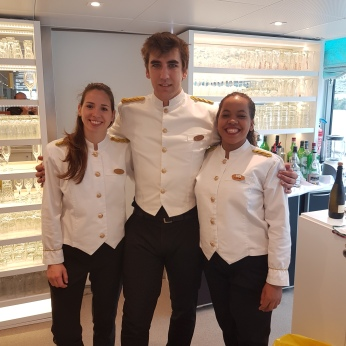 "The bar staff in their uniforms ""de gala,"" Dulce, Hugo, & Diana, who doubled as my Portuguese instructors."
