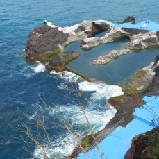 Atlantic sea-water fills the natural swimming pools below the restaurant.