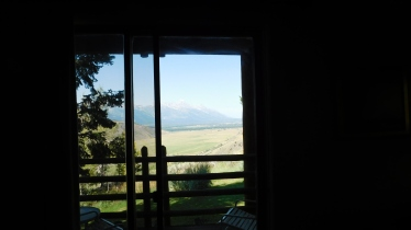A rustic cabin but a great view of the Tetons.