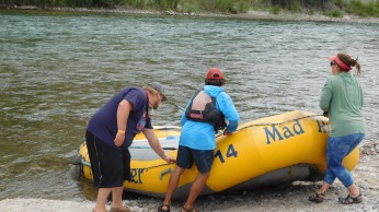 The rafts were launched on the Snake River for a scenic float.