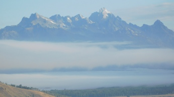 Heavy fog covered the Tetons on our walk to breakfast.