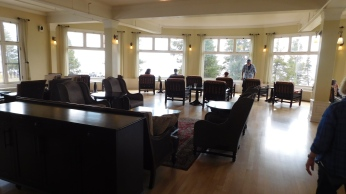 The lobby lounge is spacious and cheerful.