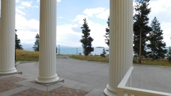 From the entry portals one can enjoy the view of the sparkling Yellowstone Lake.
