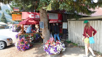 The Beartooth Cafe with pleasant outdoor tables in Cook City MT.