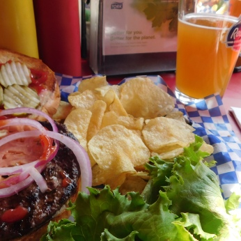 A bisonburger and a Miner's Gold beer.
