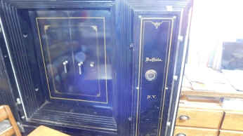 The general store has landmark status. This 18th century safe was made in Buffalo.