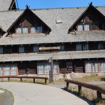 The 1904 Old Faithful Inn received National Landmark status in 1987.