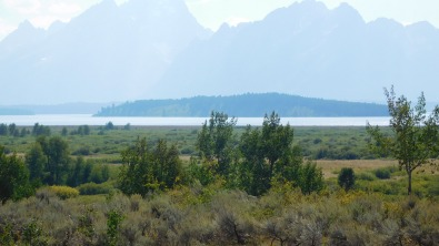 A view of Jackson Lake and the Grand Tetons from the back of the Lodge.
