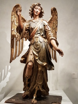 Archangel Raphael, polychromed wood, Italy, 1600.