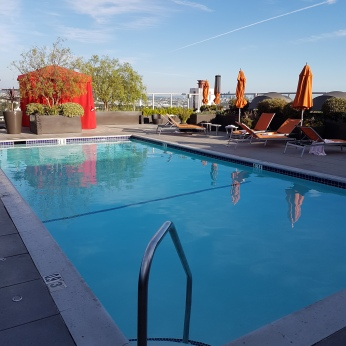 The roof-top pool would have been more cozy without a chilly breeze.