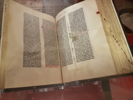 An original vellum edition of the Gutenberg Bible.