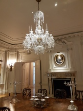 The art works shine among the original furnishings of the mansion.