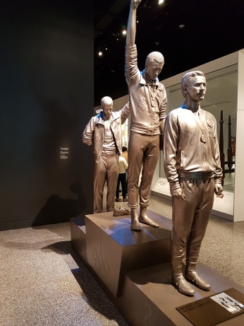I liked this tribute to the black athletes who shocked audiences with a fist of protest at the Mexico City Olympic games in 1968.