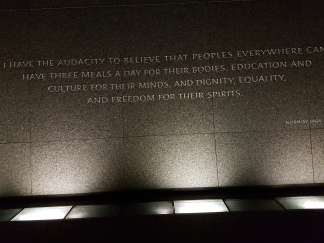 A long wall holds about a dozen excerpts from King's famous speeches.