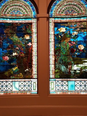 """I loved these twin stained-glass windows by John LaFarge, """"Peacocks and Peonies,"""" 1882."""
