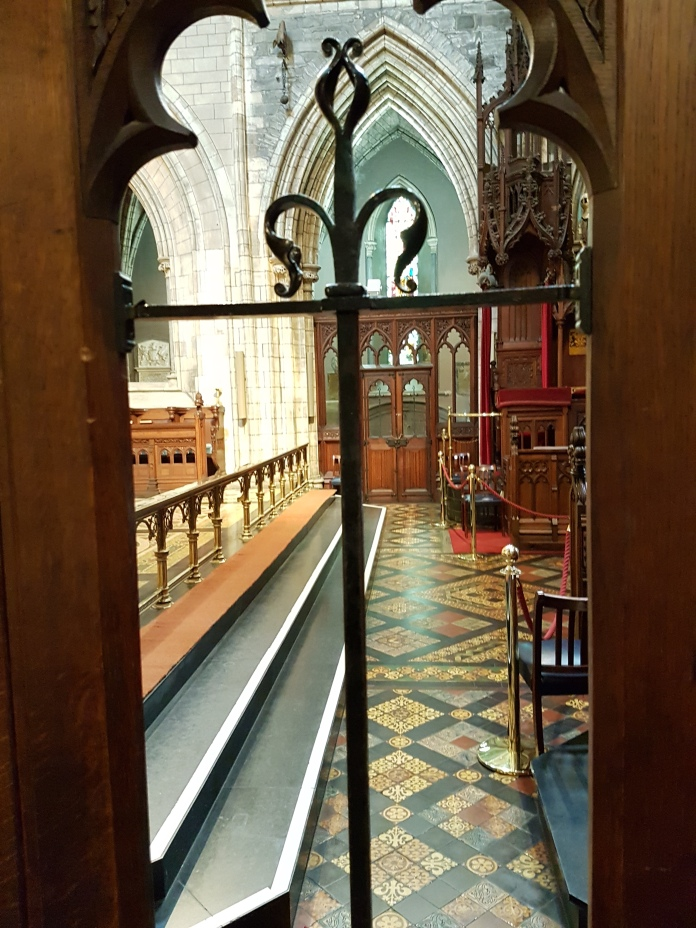 The altar area of St. Patrick's Cathedral was closed to visitors.
