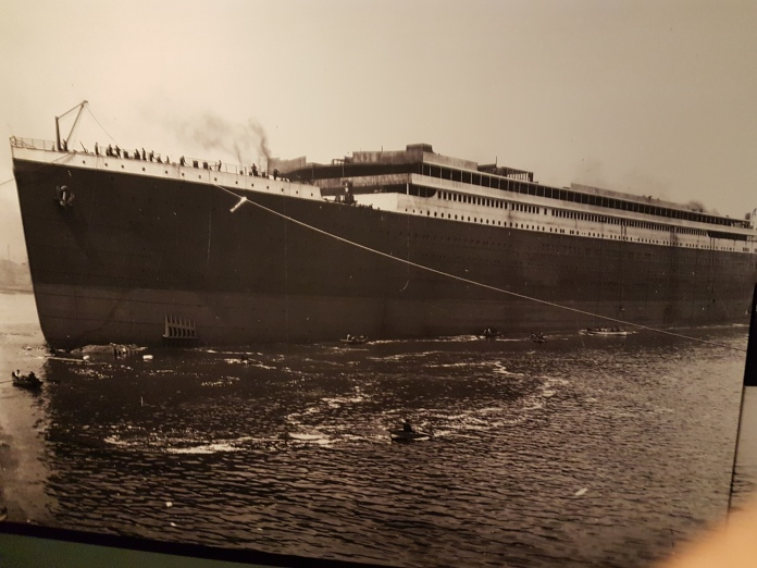 One of many great photos of the ship in the Titanic Museum.