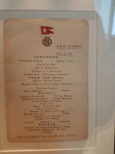 Sample of a White Star line menu.
