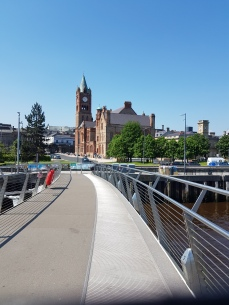 A view of the Guild Hall from the Peace Bridge.