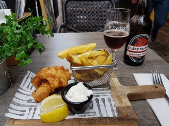 A smaller pub offered a wonderful fish and chips with a red ale.