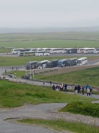 The bus park at the Cliffs of Moher was even more crowded when we left later in the morning.