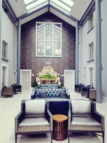 The modern lobby of the hotel.