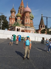 The author in front of Saint Basil's Cathedreal, Red Square