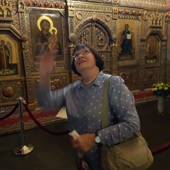 Our Moscow City guide Lyuba in St. Basil's.