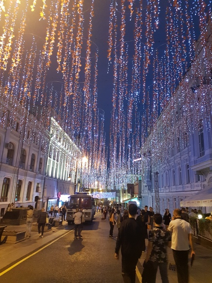 Hanging LED lights made the pedestrian street very festive.