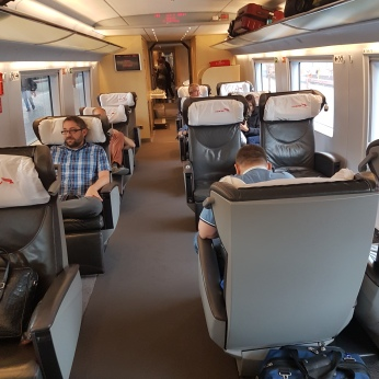 Our spacious, comfortable seating on the high-speed train from Moscow to Saint Petersburg.