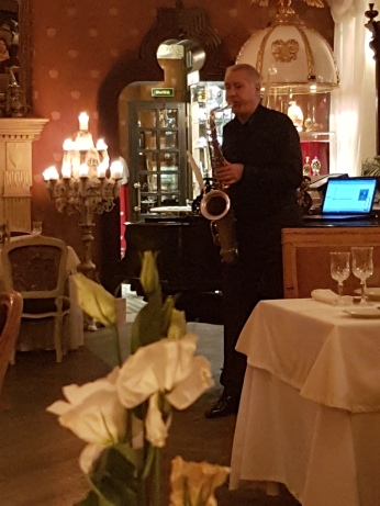 A solo saxophonist played mellow music at Tsar.