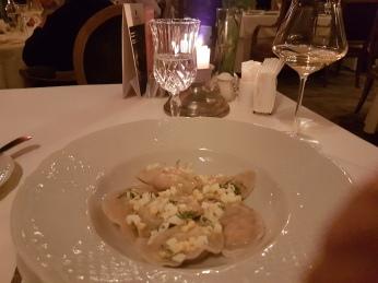 Pelmeni (dumplings with crab) at Restaurant Tsar, Saint Petersburg.