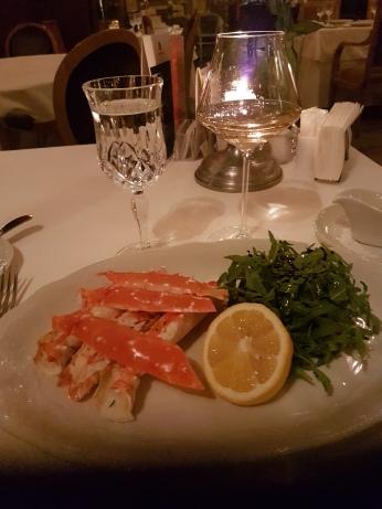 King Crab and a salad at Restaurant Tsar.