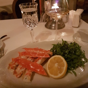King Crab and a salad at Restaurant Tsar.