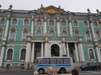 Impossible to see the Hermitage without a bus in front.