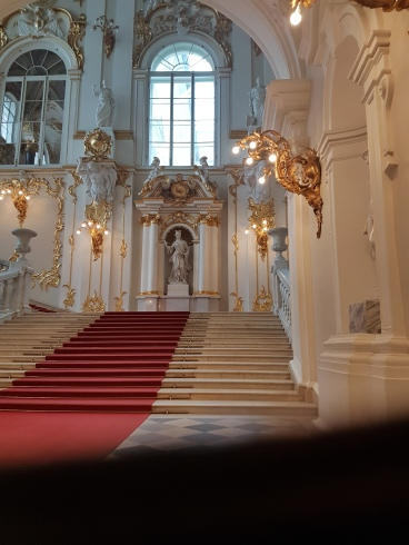 The grand stairway entrance to the Hermitage.