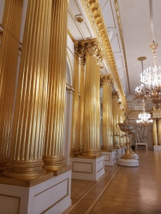 Gold-leafed columns brighte a reception hall in the Hermitage.