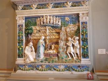 A magnificent Della Robbia porcelain and enamel Nativity