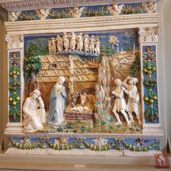 A magnificent Della Robbia porcelain and enamel Nativity