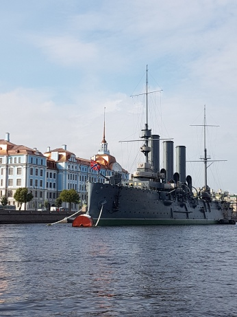 The Cruiser Aurora (1900), now a museum ship docked on the River Neva. A blank shot from its bow supposedly signaled the start of the October 1917 Revolution.