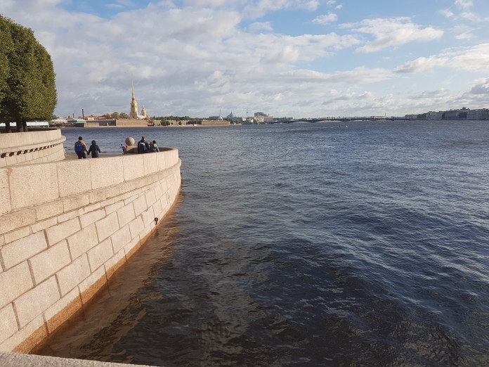 Boats once launched on the River Neva from this spot.