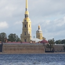 The Fortress of Saints Peter & Paul faces the river.