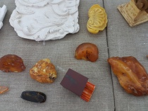 Different colors of amber are used in making palace decorations.